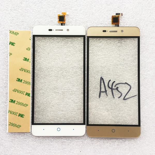 Wholesale- Black White Gold Touch Screen For ZTE Blade A452 X3 D2 Digitizer Front Glass Panel Sensor Front Glass Lens Replacement