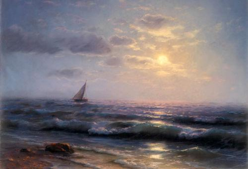 Framed little sail boat on ocean with waves in sunset,Free Shipping,Hand-painted Seascape Art oil painting On Canvas Multi sizes