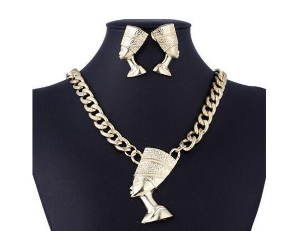 Nouveau classique Exagération Bijoux Femme Ensemble Droite Symbole De La Chaîne En Alliage De Pharaon Egyptien Bijoux Classique Clavicule