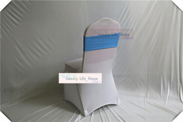 Free shipping 50pcs Blue Lycra Spandex Stretch Wedding Chair Sashes Band Wedding Banquet Party Decoration Chair Sash many color can choose