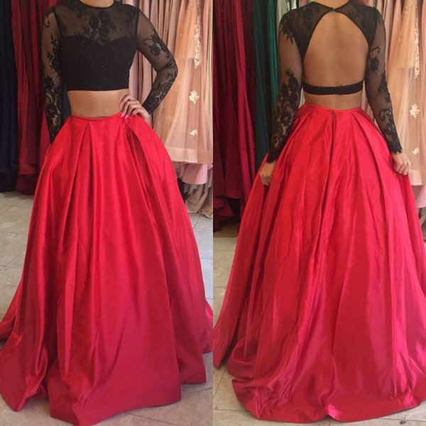 Black Lace Top Two Pieces Long Prom Dresses 2017 Elegant O-neckline Sexy Backless Red A-line Prom Dress Hot Sale Prom Party Dress