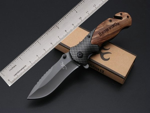 top popular Browning X50 Flipper Tactical Folding Knives 5Cr15Mov 57HRC Titanium Camping Hunting Survival Pocket Wood Handle Utility EDC Collection 2019