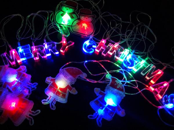 Merry Christmas LED String Lights Bulb AC 110~220V Xmas 4m 20leds RGB Santa Claus Snowmen Letter Strings for Trees Window Decoration CE ROSH