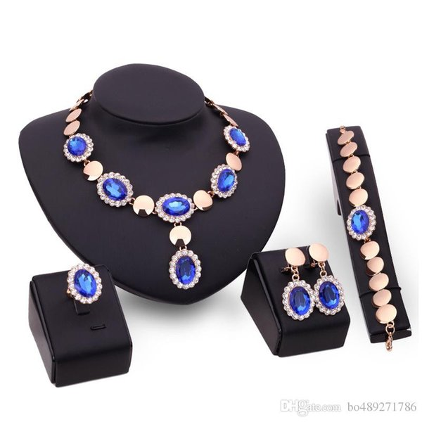 4 Colors Jewelry Set 18K Gold Plated Fashion Necklace Earring Bracelet Ring Suit With CZ Rhinestone Party Necklace Sets