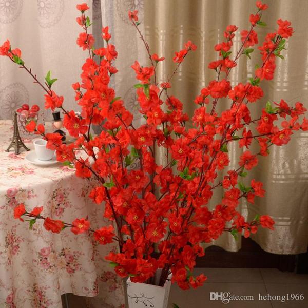 Künstliche Pfirsichblüte Branch Praktische Simulation Wohnzimmer Ornament Blume Baum Hause Tisch Dekor Multi Farbe 2 6jz C R