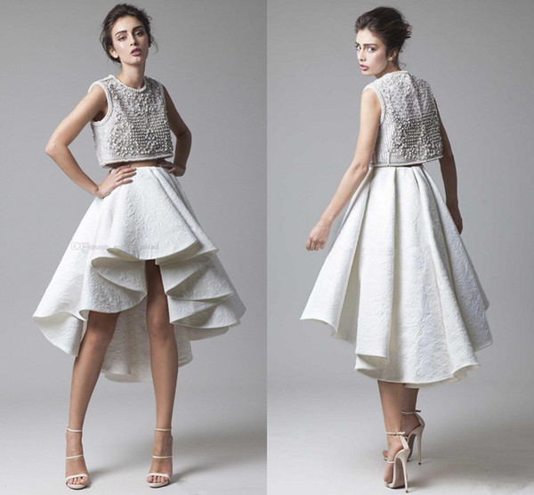 Krikor Jabotian 2018 Two Pieces High Low Prom Homecoming Dresses Pearl Beaded Crop Top Outfits Ruffles Evening Occasion Wear Dress