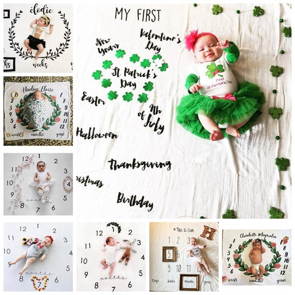 INS Kids Blankets cotton photo prop Blankets infant Swaddling Letter flower digital baby bed sheet Sleeping Bag 100*100cm 10 styles