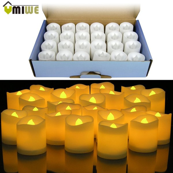 24pcs Yellow Led Flameless Candle Lamp Votive Bars Holiday Wedding Battery -Powered Electronic Pillar Candle For Home Decoration