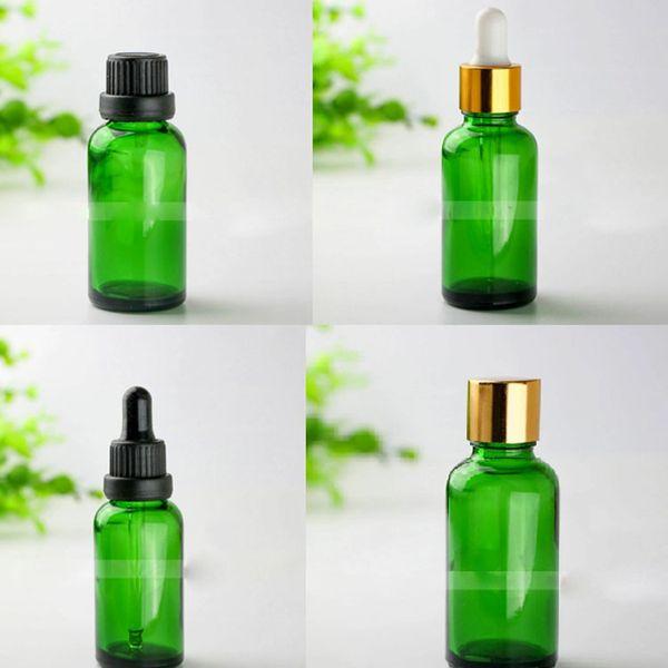 Frete grátis 440 pcs 30 ml frasco conta-gotas de vidro verde, 30 ml frasco de vidro verde com preto, prata, tampas de ouro, 1OZ garrafas de vidro cosmético