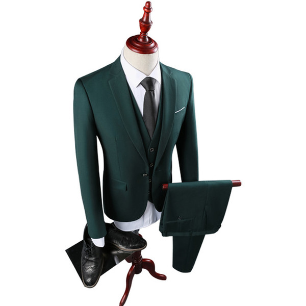Suits Men British Slim Fit Bridegroom Marriage Blazer Set One Button Casual Solid Men Suit Formal Wear (Jacket+Pants+Vest) K355