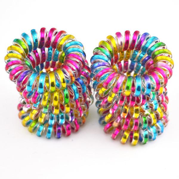Оптовая продажа 100 шт. / лот красочные телефонный провод шнур линия резинка держатель эластичный волос галстук резинка 3 .5 см дети аксессуары для волос