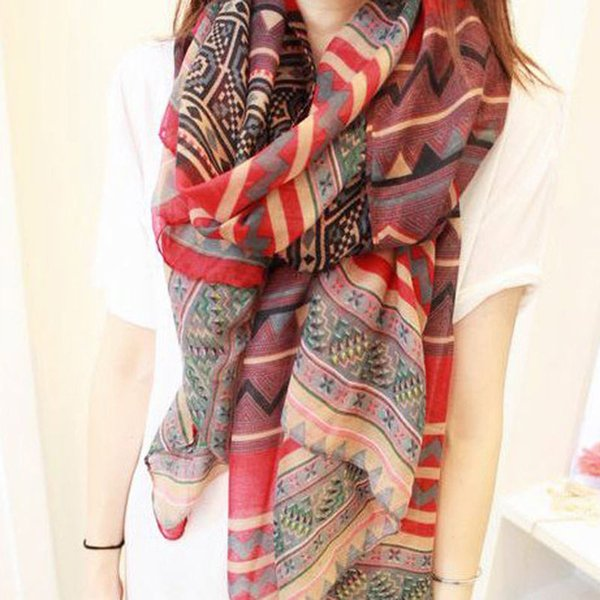 Wholesale-Fashion Female Girl Vintage Long Soft Cotton Voile Print Scarves Shawl Wrap Stole For Woman