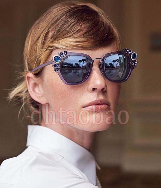 Moq=5 pcs 2017 New Summer Women Fashion Exquisite Diamond Beautiful Floral Sunglasses Driving Beach Glasses UV400 9 Colors Free Shipping