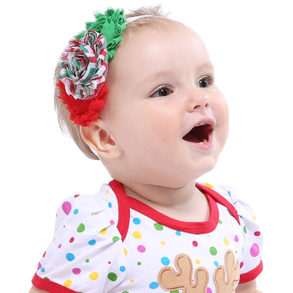 Shabby Chic Christmas Headbands Handmade Hair Accessories for Newborn Baby Photography Props Boutique Xmas Red Headband Head Wear Girls