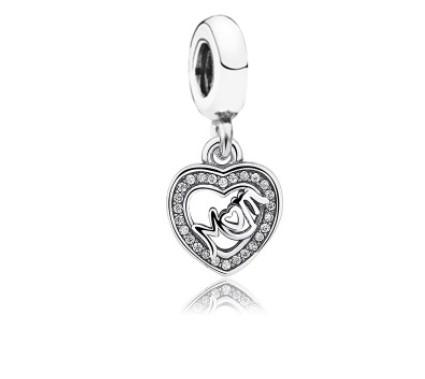 Fits Pandora Sterling Silver Bracelet 10pcs White Crystal Mom Heart Dangle Beads Charms For European Snake Charm Chain Fashion DIY Jewelry