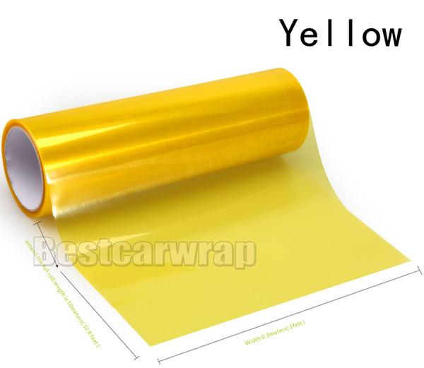 4 rolls Yellow Headlights Tinting film Headlamp Tint tail lamp Vinyl lamp covering foil size 0.3x10m/Roll