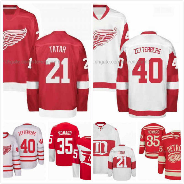 Tomas Tatar Jersey 21 Jimmy Howard 35 Henrik Zetterberg 40 Mens Ice Hockey Jerseys Detroit Red Wings Red White Full Stitched S-3XL