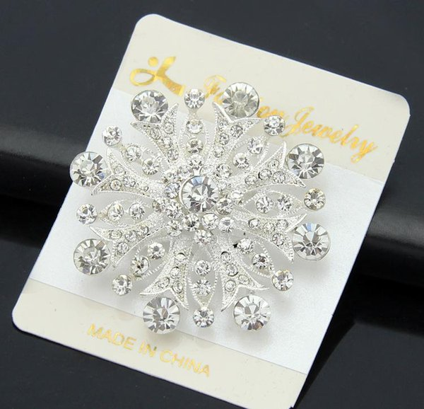 Fashion 925 silver plated Real Austria Crystal petals Brooch Diamond Flowers Brooches Pins For Women Dresses Scarf clips accessories
