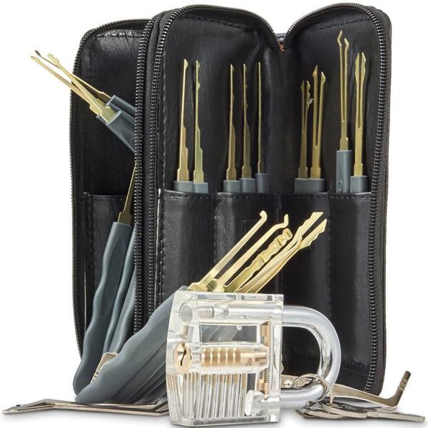 Acciaio inossidabile di alta qualità 24pcs GOSO Lock Picks Lockpick Locksmith Fast Lock Opener con borsa in pelle + Lucchetto trasparente pratica Lock