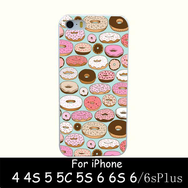 Al por mayor-donut wonderland Estilo Hard White Case Cover para iPhone 4 4s 5 5s 6 6s 6 más diseño de impresión Volver