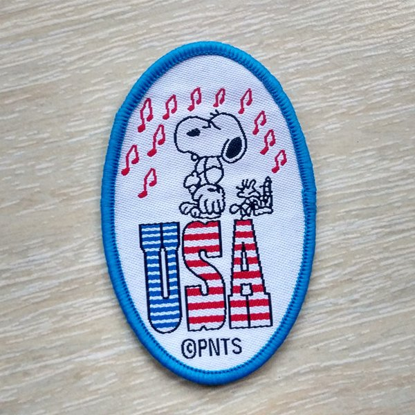 Snoopy USA Music Collection Sew On Cartoon oval Patch Shirt Trousers Vest Coat Skirt Bag Kids Gift Baby Decoration