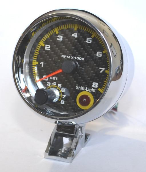 best selling 3.75'' 80mm 0~8000 Tachometer Gauge Carbon Fibre Face Tachometer Rpm Gauge RPM Meter With RPM Shift Light Auto Gauge