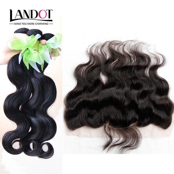Brazilian virgin human hair weave 3 bundle with full lace frontal clo ure body wave unproce ed peruvian indian malay ian cambodian hair, Black