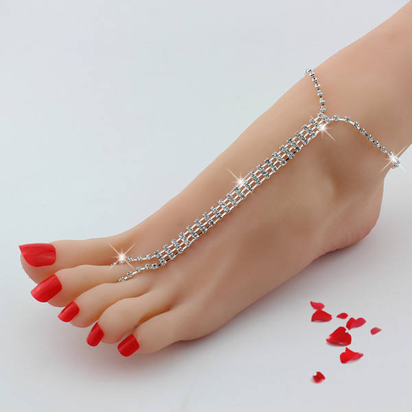 1 Pair Barefoot Beach Double Chain Foot Tassel Toe Chain Crystal Rhinestone Silver Anklet Ankle Bracelet Chain Women Foot Jewelry