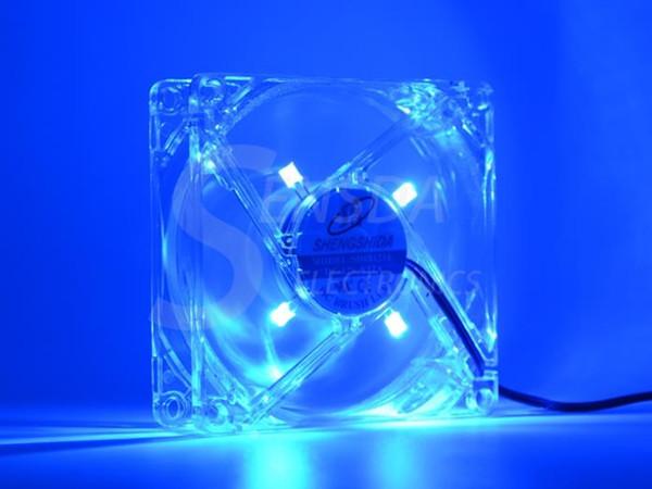 top popular pc computer fan 80mm with 4ea led 8025 8cm silent DC 12V LED luminous chassis molex 4D plug axial fan 2021