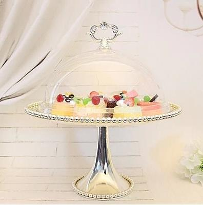 1 Tier Silvery Metal Wedding Cupcake Stand with Acrylic Cover Cake Food Display Holder Party Event Decoration Free Shipping