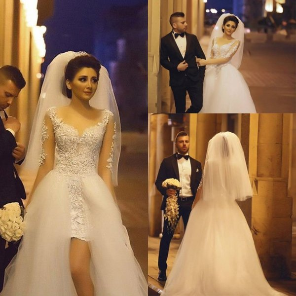 Arabic Middle East Ball Gown Wedding Dresses Sheer Jewel Neck Appliques Long Sleeves Ruched Overskirts Bridal Gowns Said Mhamaid 2017