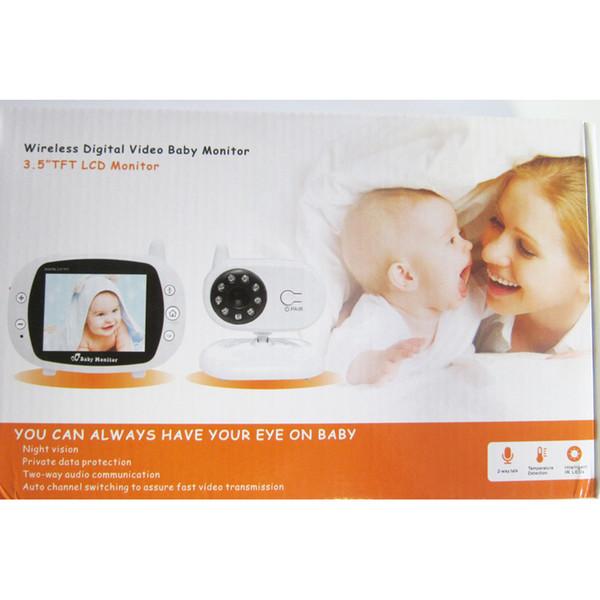 Großhandel-3,5 Zoll LCD Wireless Babysitter Digital Video Baby Monitor Audio Nachtsicht Musik Temperaturanzeige