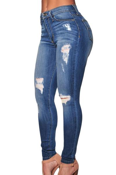 NUOVO Donne Ragazze stretch SLIM DENIM BLU SCURO WASH Strappato Ginocchia Skinny Jeans
