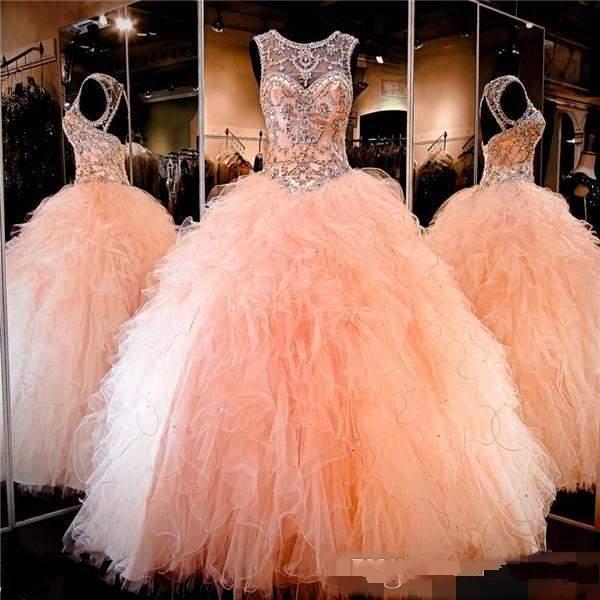 2017 Coral Peach Sheer Cristal Beading Rhinestone Ruffled Tulle vestido De Baile Doce 16 Vestidos Lace-up Backless vestido de Baile Vestidos Quinceanera
