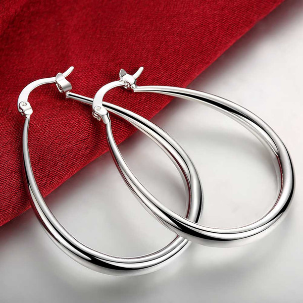 best selling 925-sterling-silver Earrings 925 Jewelry Silver Plated Fashion Stereo Solid U-Shape Earrings Creole Water Hoop Earrings for Women Accessory