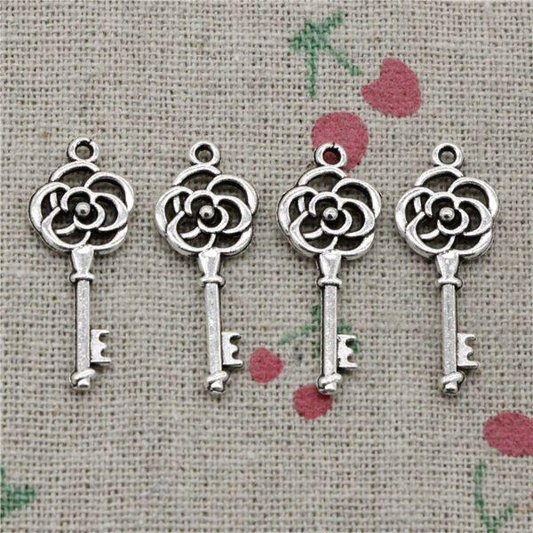 129pcs Charms rose vintage skeleton key 28*11mm Antique Silver/Bronze Pendant Zinc Alloy Jewelry DIY Hand Made Bracelet Necklace Fitting