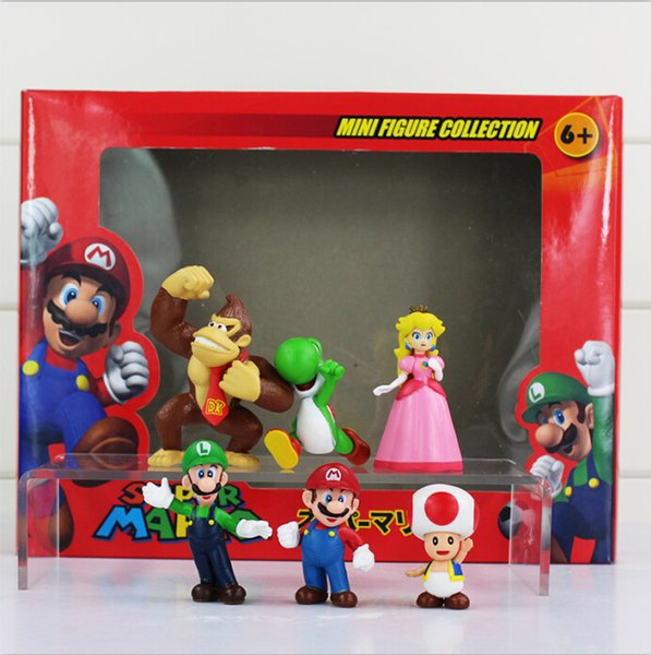 Super Mario Bros Luigi donkey kong Action Figures 6pcs/set yoshi mario figure Gift For Childrens' toy free shipping