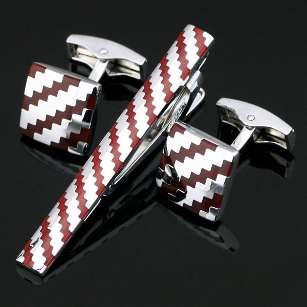 Cuff Links Good High Quality Necktie Clip For Tie Pin For Men Red Silver Tie Bars Cufflinks Tie Clip Set Free Shipping Z-018