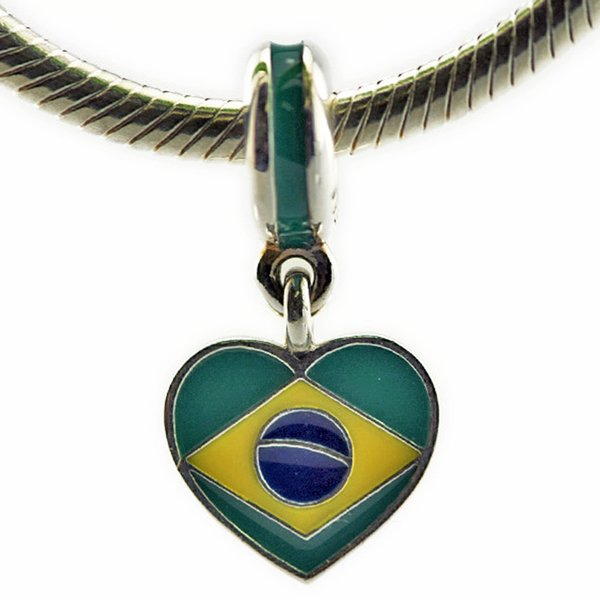 Brazil Heart Flag Mixed Enamels 2016 Summer 100% 925 Sterling Silver Beads Fit Pandora Charms Bracelet Authentic DIY Fine Jewelry