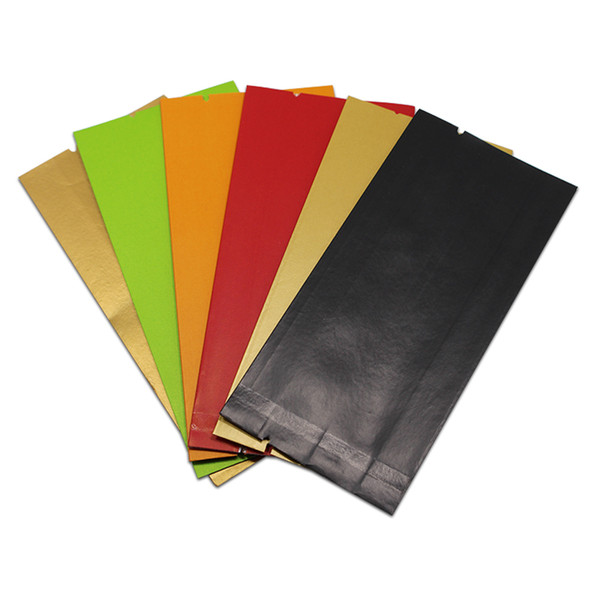 300pcs/lot Colored Kraft Paper Bag Aluminum Foil Food Packaging Open Top Heat Seal Side Gusset Dried Fruits Nuts 12*5.5*2.5cm