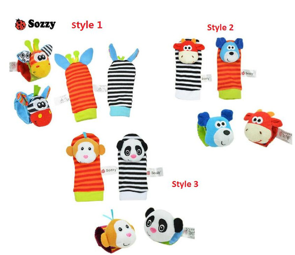 best selling Sozzy Baby Infant Toy Soft Handbells Hand Wrist Strap Rattles Animal Socks Foot Finders Stuffed Toys Christmas Gift