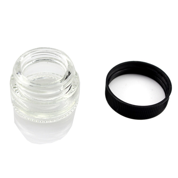 Food Grade Non-Stick 5ml Glass Jar Tempered Glass Container Wax Dab Jar Dry Herb Container with Black Lid VS 6ml Glass Jar