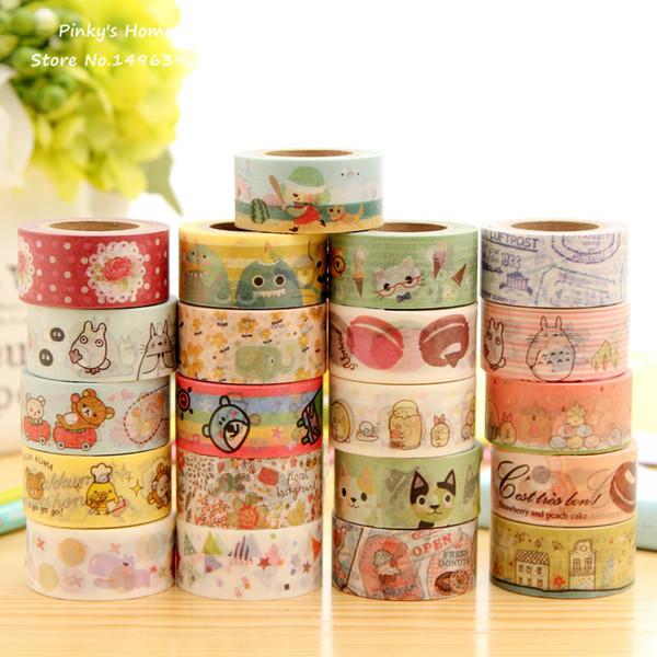top popular Wholesale-Cute Cartoon Animals Rilakkuma Totoro Fresh Style Washi Tape Adhesive Masking Tape Decorative DIY Stick Label Escolar Papelaria 2019