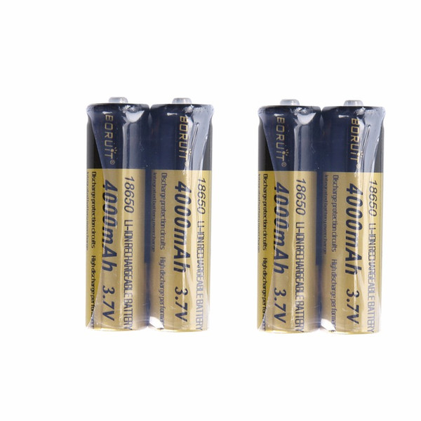 4PCS 4000mAh Rechargeable 18650 BORUIT Battery Batteries Lithium for Headlamp Headlight LED Flashlight Latest Certification CE