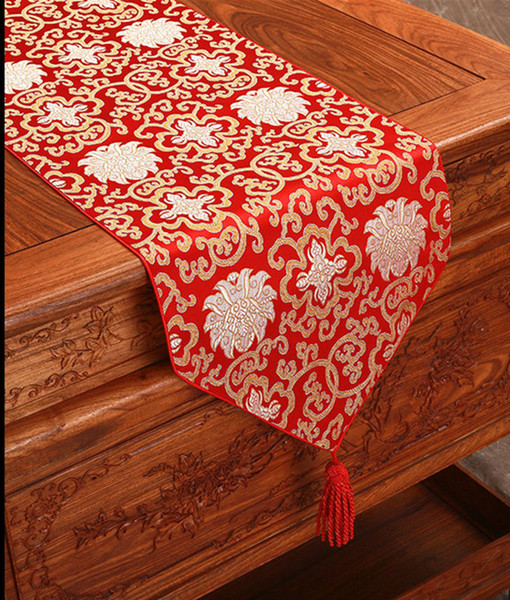 top popular 120 inch Extra Long Damask Table Runner High End Decorative Dining Table Protective Pads Placemat Luxury Fashion Tea Table Cloth 300 x 33cm 2021