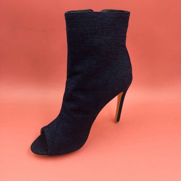 2016 Real Image Womens Dark Blue Womens Boots Peep Toe Custom Made Plus Size Fashion Boots Party Evening Shoes Summer Style Ladies Shoes