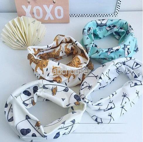 Hot! 5 Colors Animal Printed Winter Warm Ring Neckerchief Infants O Ring Child Neck Scarves Children Baby Boy Girl Scarves Toddler Kids Scar