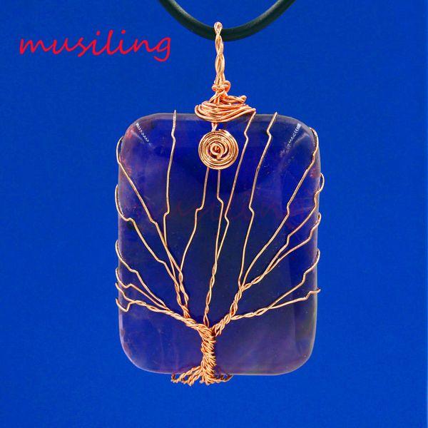 Pendant Pendulum Jewelry Natural Gem Stone Rose Quartz etc Rose Gold Plated Mascot Life Tree Rectangle Reiki Charms Amulet Men Jewelry 10pcs