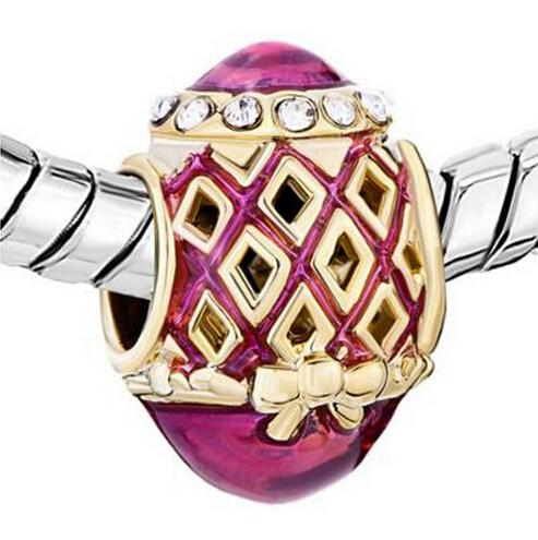 5pcs per lot gold plating COPPER Jewelry handcraft colors Enamel FILIGREE BOWKNOT Faberge Egg charm Russion Egg Beads Fits for Bracelets