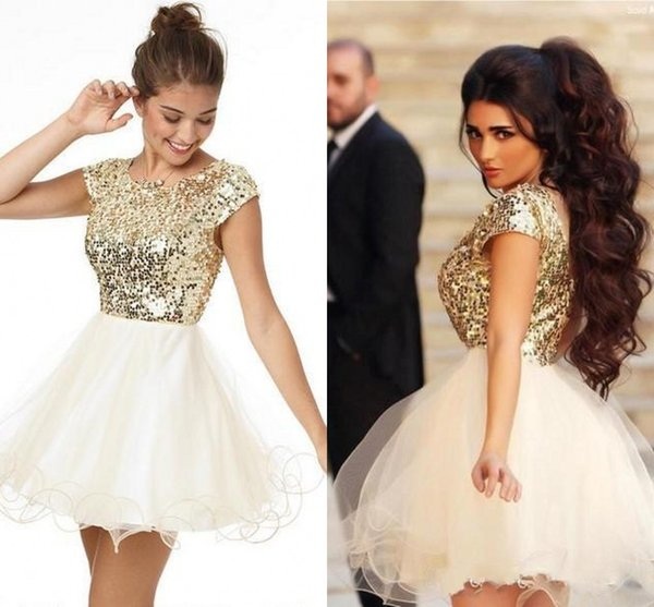 4c5da7d564847 2016 8th Grade Prom Dresses Homecoming Under 100 White And Gold Sequined  Short Mini Cocktail Party Cocktail Graduation Gowns Club Wear White Short  ...
